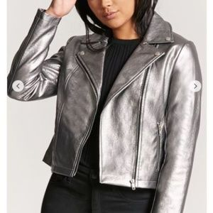 Jackets & Blazers - Metallic Zip-Front Moto Jacket